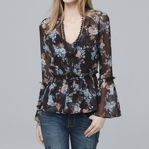 WHBM floral flared top matching camisole